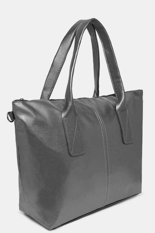 Plain Silver Vegan Leather Large Tote Bag-SinglePrice