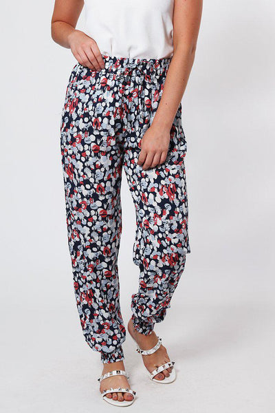 Elastic Waist And Cuffs Cotton Red Leisure Trousers-SinglePrice