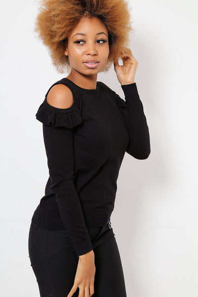 Frilled Cold Shoulder Black Jumper-SinglePrice