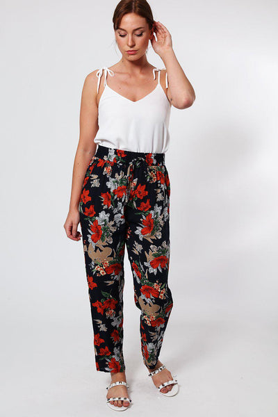 Red Floral Print Elastic Waist Navy Leisure Trousers-SinglePrice