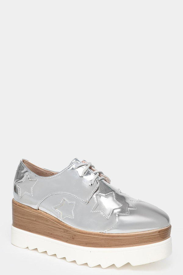 Wooden Effect Wedge Star Silver Creepers-SinglePrice