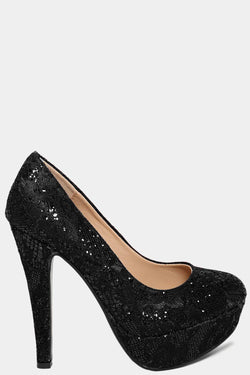 Black Glitters Embellished Lace High Heels - SinglePrice