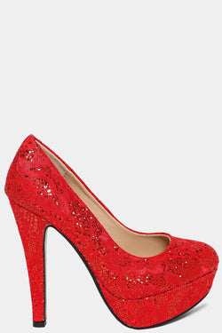 Red Glitters Embellished Lace High Heels - SinglePrice