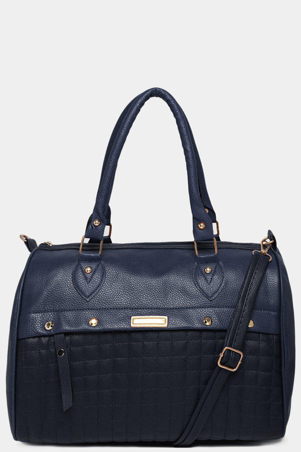 Navy Quilted Front Vegan Leather Large Bowler Bag-SinglePrice