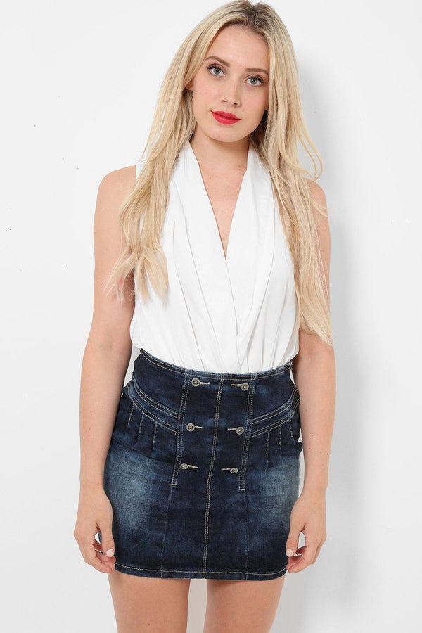High Yoke Waist Denim Skirt - SinglePrice