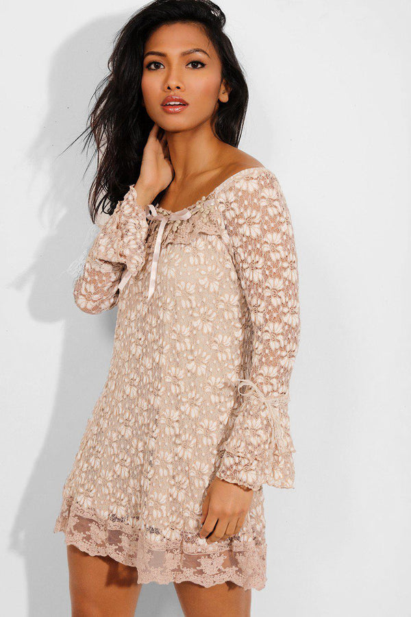 Brown Lace Flute Sleeves Off Shoulder Dress - SinglePrice