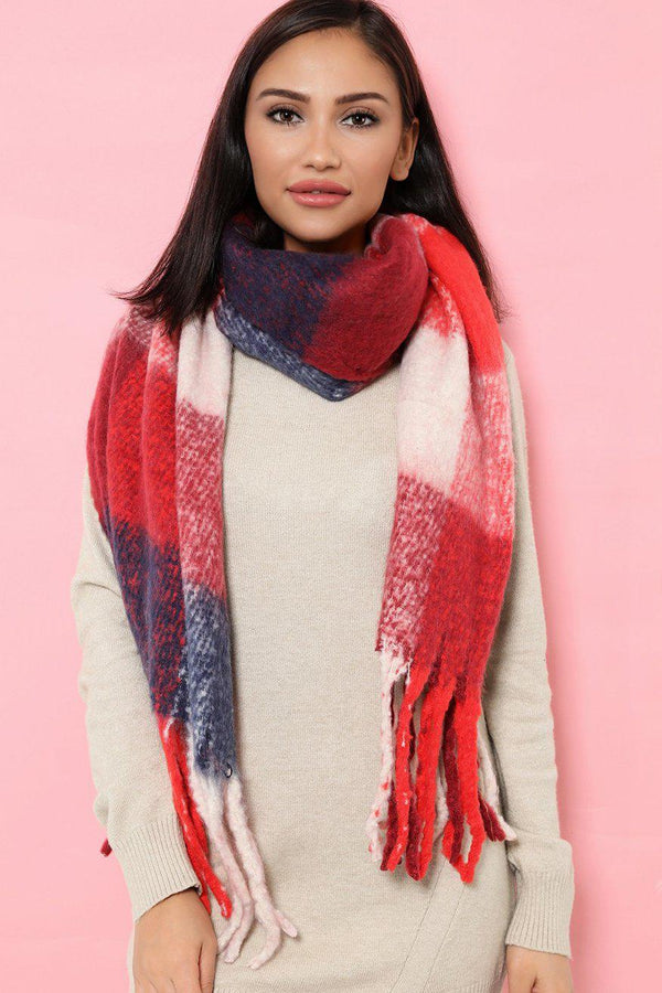 Red Fluffy Knit Oversized Scarf With Tassels - SinglePrice