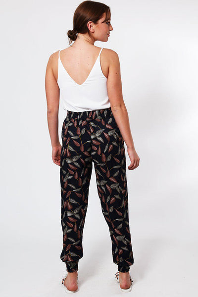 Leaves Print Elastic Waist And Cuffs Navy Leisure Trousers-SinglePrice