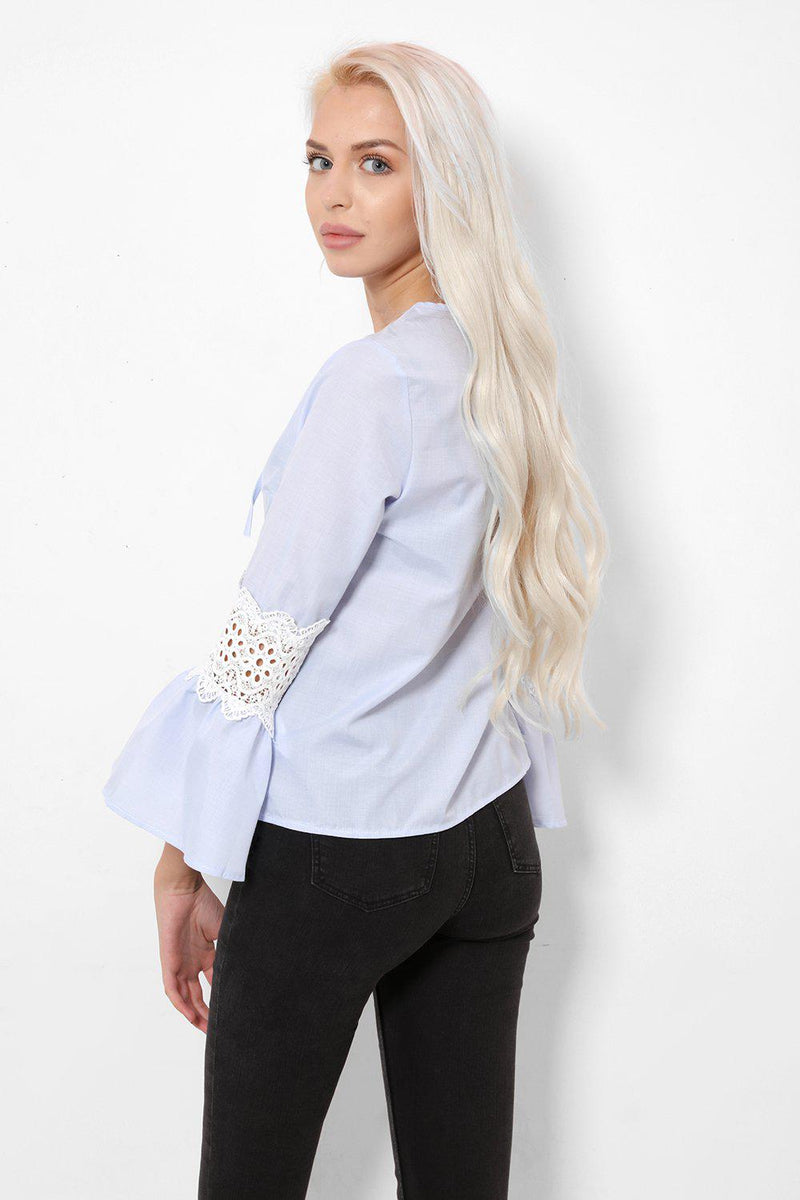 Blue Flute Sleeves Neck Tie Blouse - SinglePrice