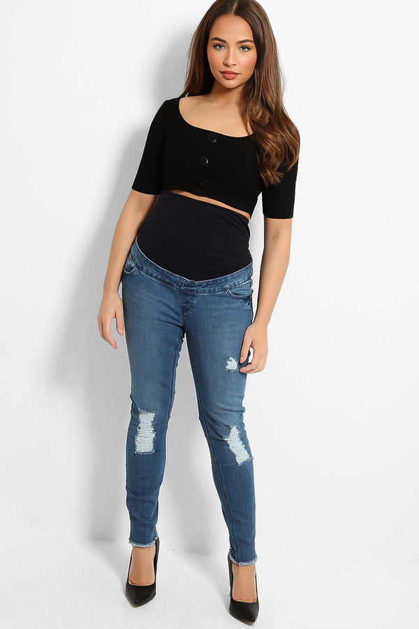 Blue Distressed Maternity Jeans - SinglePrice