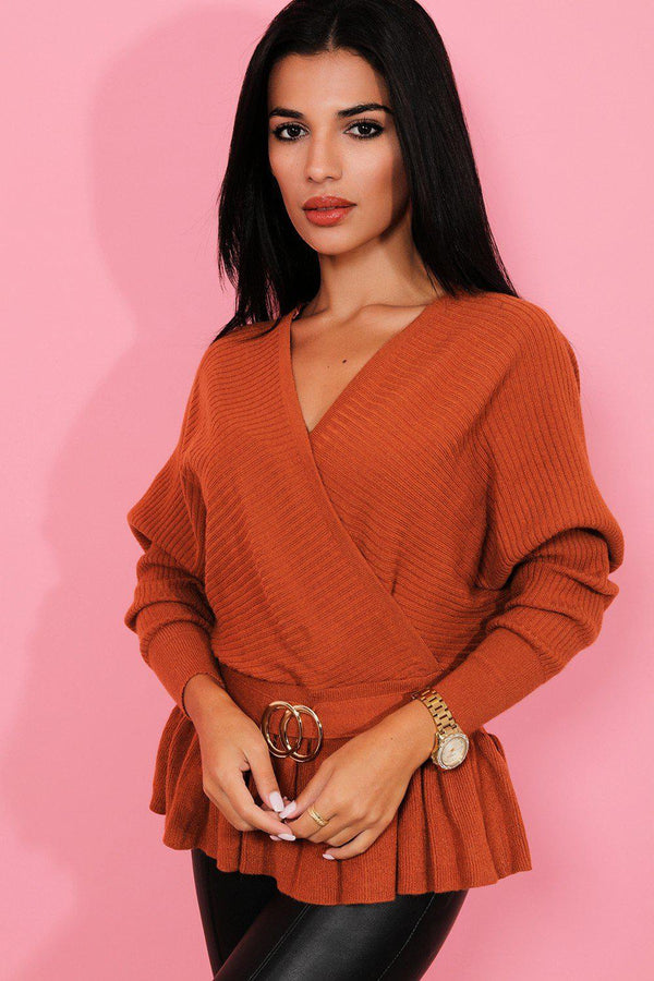 Brown Gold Buckle V-Neck Batwing Pullover - SinglePrice