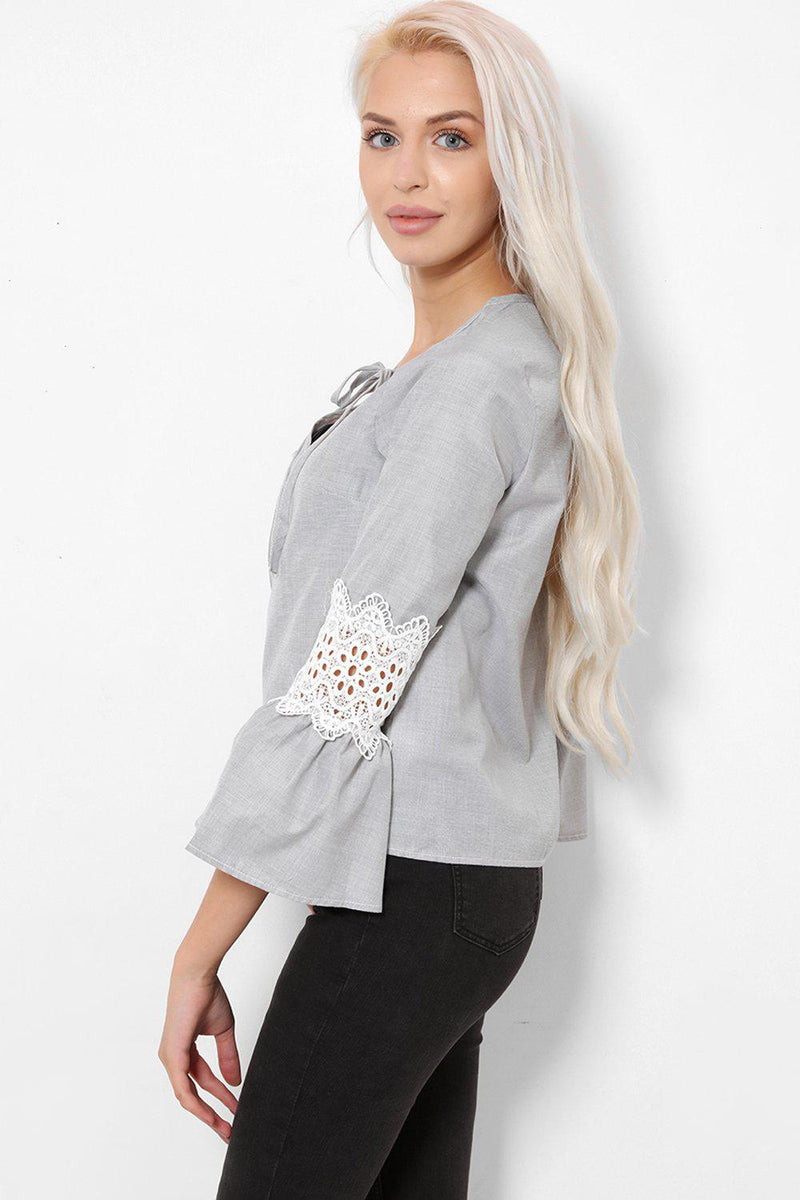 Grey Flute Sleeves Neck Tie Blouse - SinglePrice