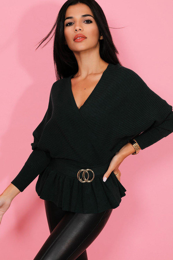 Dark Green Gold Buckle V-Neck Batwing Pullover - SinglePrice