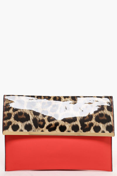 Patent Leopard Print Flap Coral Clutch-SinglePrice