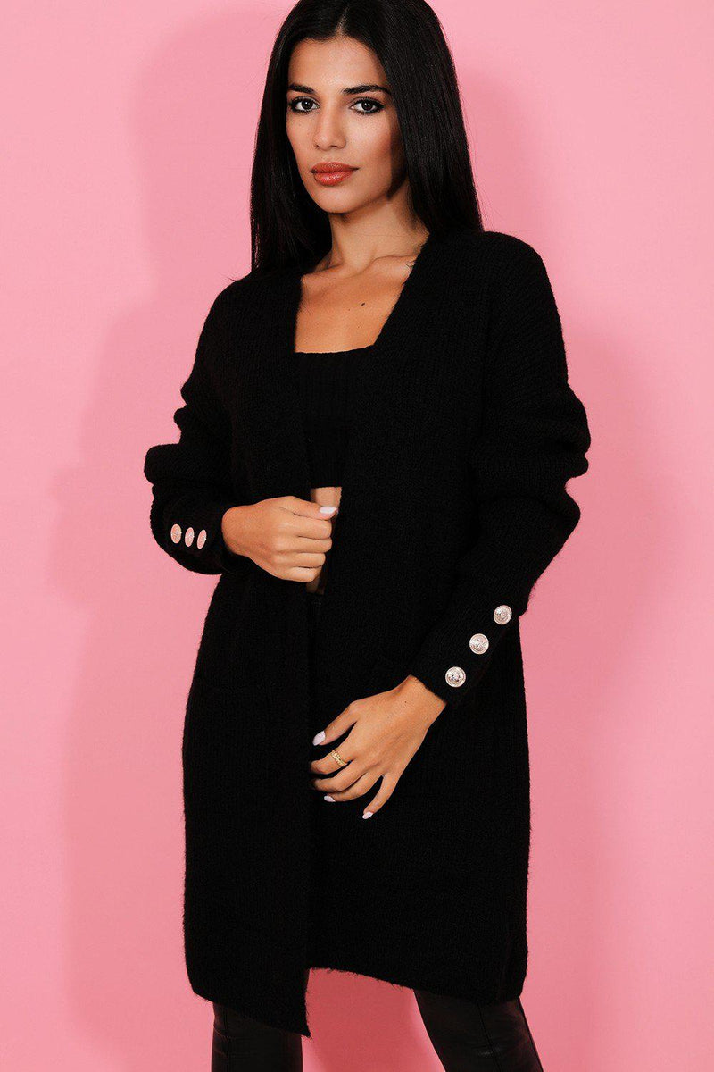 Gold Buttons Sleeve Black Soft Knit Cardigan - SinglePrice