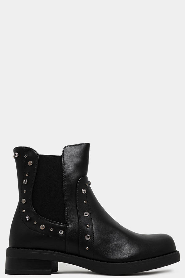 Black Beaded Details Vegan Leather Chelsea Boots - SinglePrice