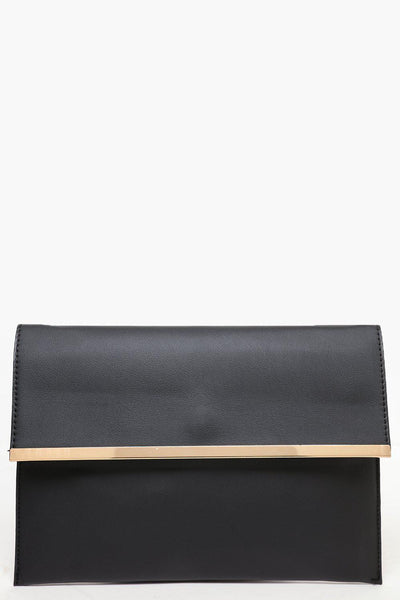 Gold Frame Black Clutch