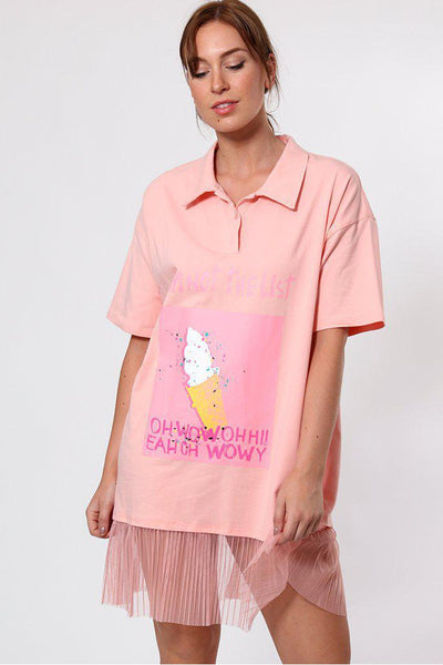 Slogan Net Frill Hem Pink T-shirt Dress-SinglePrice