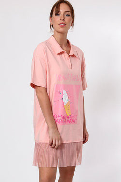Slogan Net Frill Hem Pink T-shirt Dress - SinglePrice