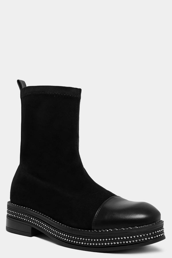 Encrusted Sole Black Sock Boots - SinglePrice