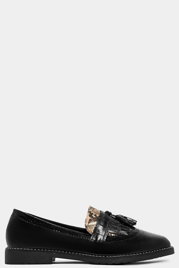 Black Python Panels Patent Loafers