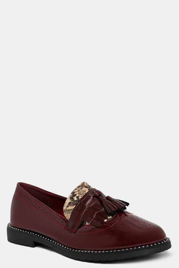 Wine Python Panels Patent Loafers