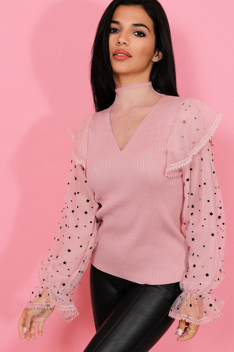 Pink Stars Print Mesh High Neck Knitted Pullover - SinglePrice
