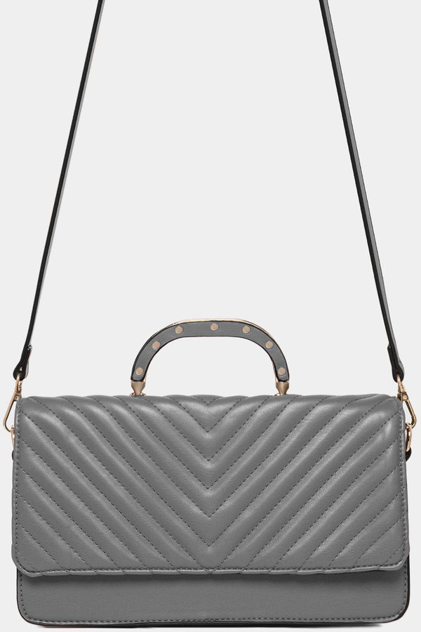 Gold Studs Handle Grey Chevron Quilt Shoulder Bag-SinglePrice