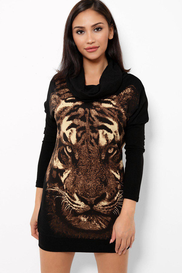 Brown Tiger Print Cowl Neck Knitted Dress - SinglePrice
