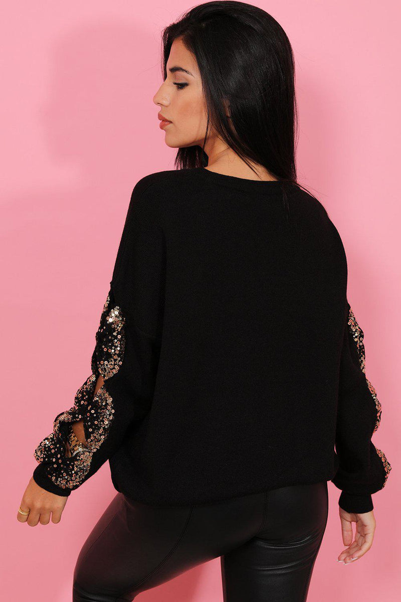 Black Sequin Bow Details Soft Knit Pullover - SinglePrice