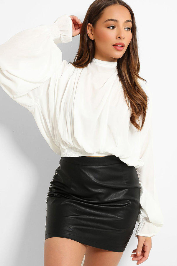 White Draped Exaggerated Sleeves Blouse-SinglePrice