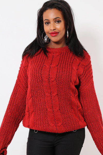 Braided Knit Red Fishermans Sweater-SinglePrice