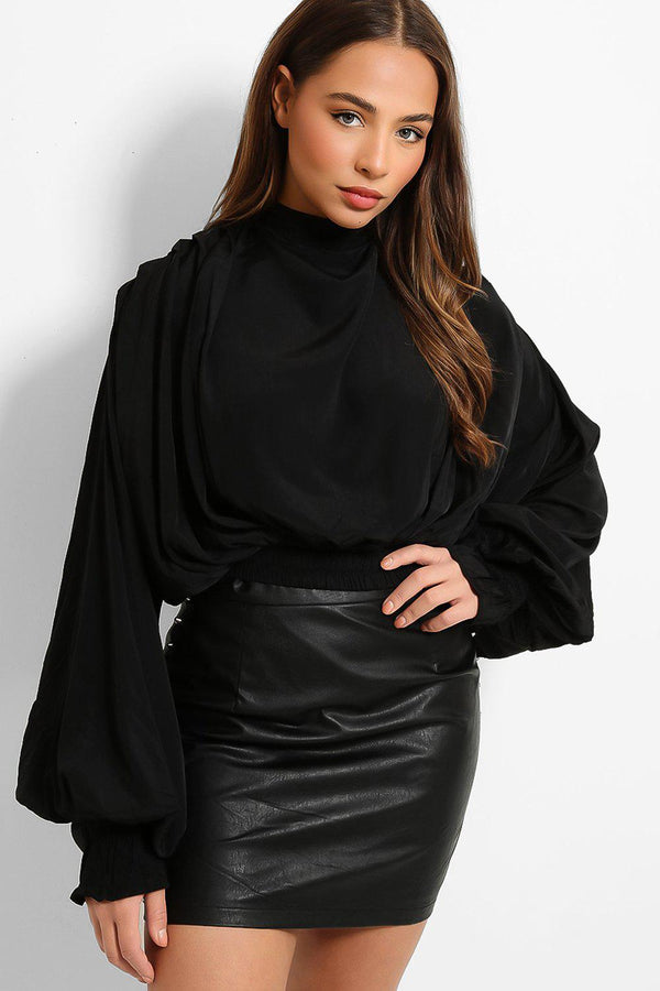 Black Draped Exaggerated Sleeves Blouse-SinglePrice