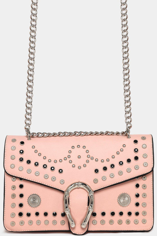 Pink Mixed Studs Embellished Chain Strap Crossbody Bag-SinglePrice