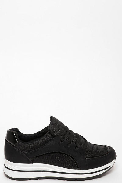 White Wedge Black Shimmer Trainers-SinglePrice