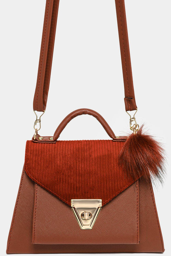 Brown Corduroy Flap Pom Pom Charm Trapeze Shoulder Bag-SinglePrice