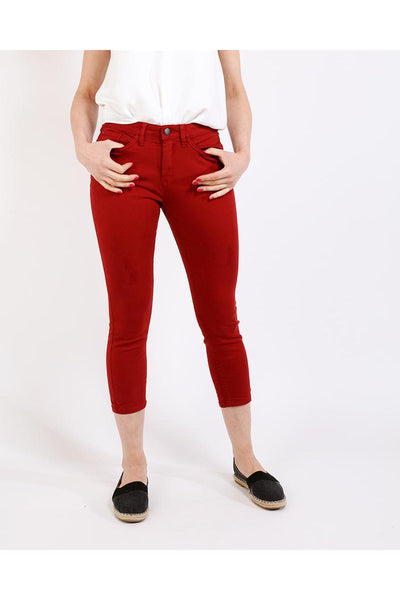 Red Distressed Cropped Skinny Jeans-SinglePrice