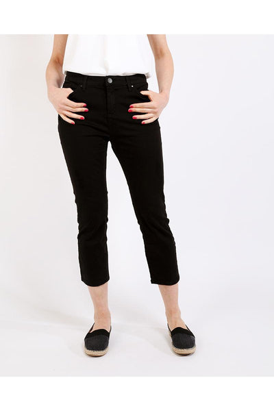 Black Distressed Cropped Skinny Jeans-SinglePrice