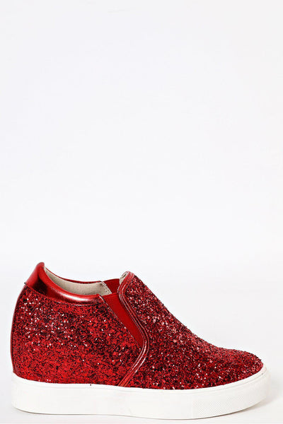Red Glitter Hidden Wedge Trainers-SinglePrice