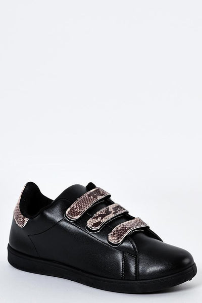 Snake Print Details Black Trainers-SinglePrice