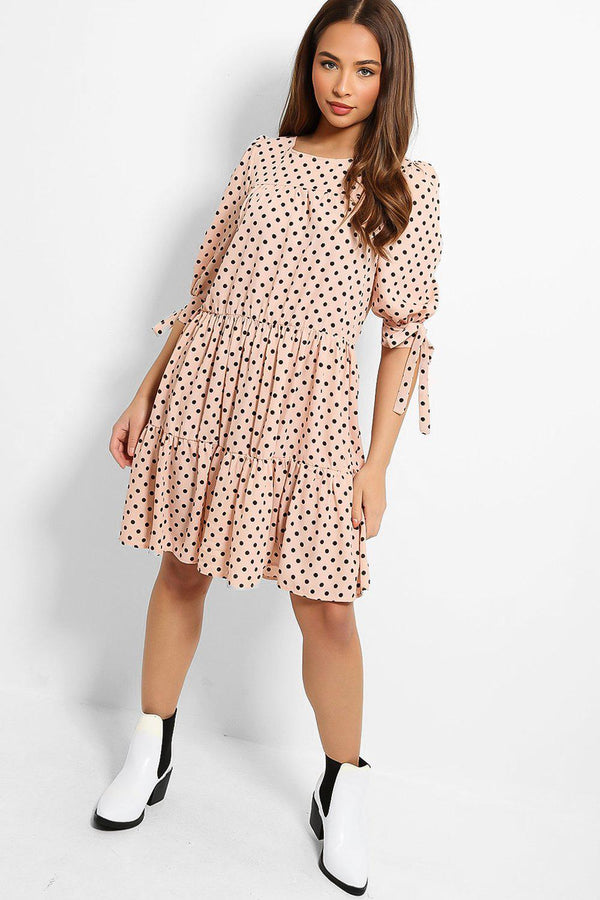 Pink Polka Dot Print Tiered Midi Dress - SinglePrice