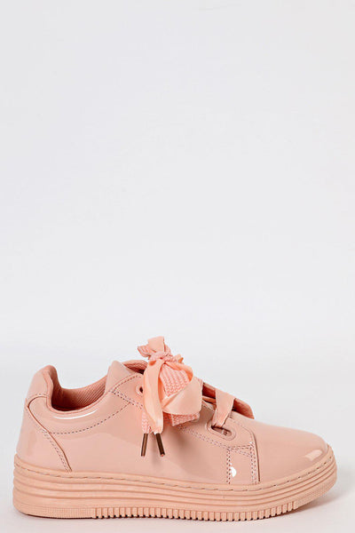 Blush Patent Laced Up Trainers-SinglePrice