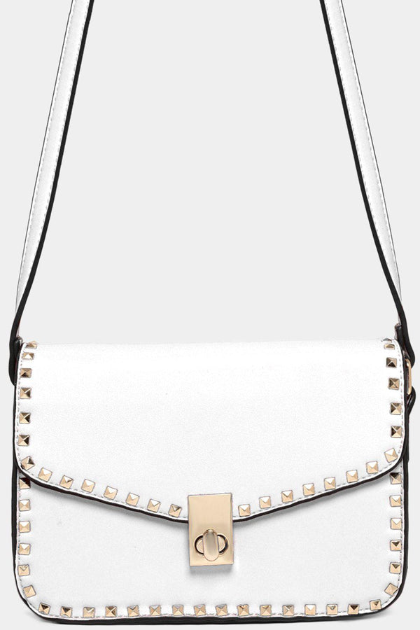 Gold Studs White Vegan Leather Shoulder Bag-SinglePrice