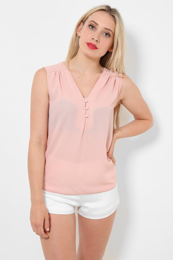 Light Pink Button Front Top-SinglePrice