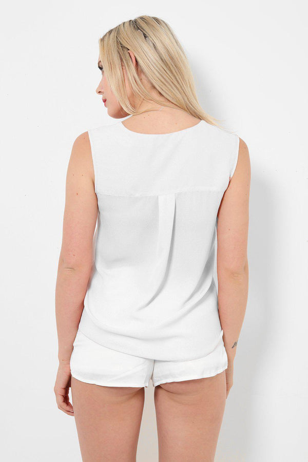 White Button Front Top-SinglePrice