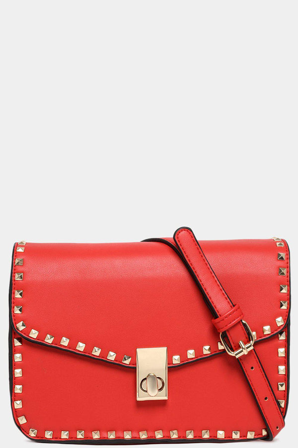 Gold Studs Red Vegan Leather Shoulder Bag-SinglePrice