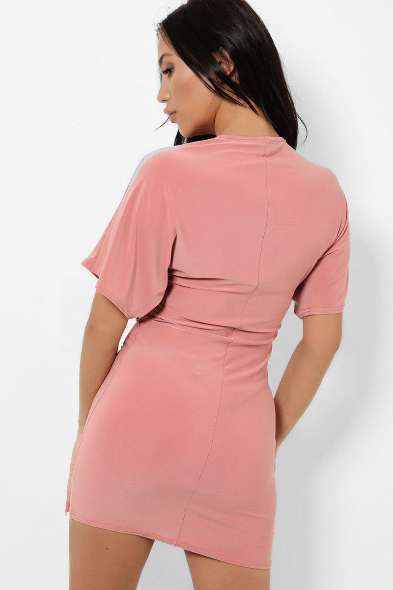 Pink Front Twist Batwing Sleeve Bodycon Slinky Dress - SinglePrice