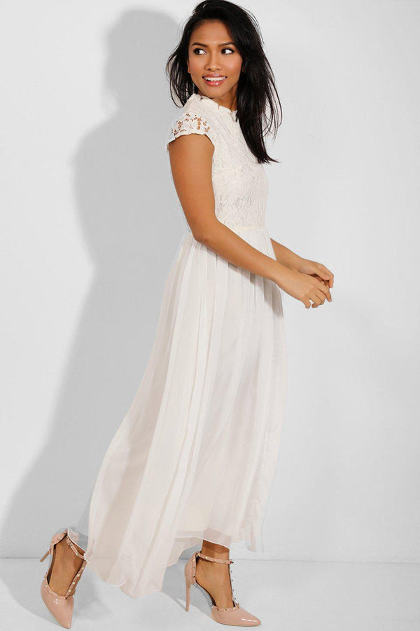 Cream Layered Chiffon Maxi Dress-SinglePrice