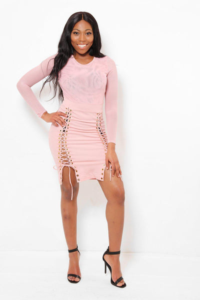 Corset Skirt Mesh Top Pink Dress-SinglePrice