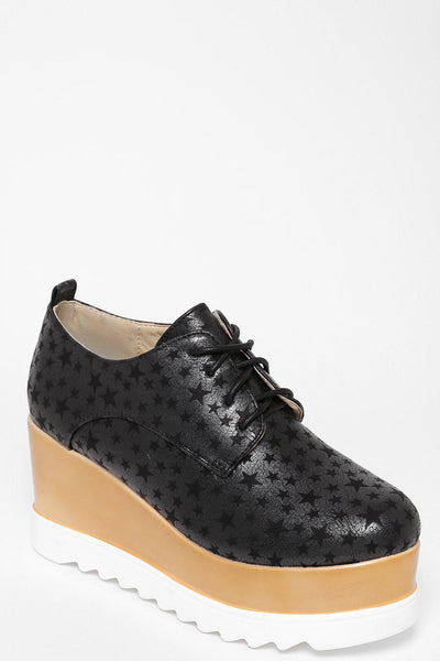 Cleated Wedge Black Star Print Shoes-SinglePrice